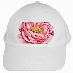 Large Flower Floral Pink Girly Graphic White Cap
