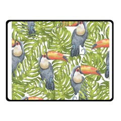 Tropical Print Leaves Birds Toucans Toucan Large Print Fleece Blanket (small)