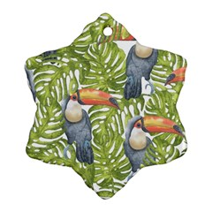 Tropical Print Leaves Birds Toucans Toucan Large Print Snowflake Ornament (2 Side)