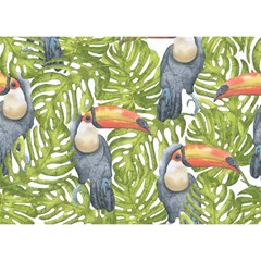 Tropical Print Leaves Birds Toucans Toucan Large Print Birthday Cake 3d Greeting Card (7x5)