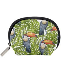 Tropical Print Leaves Birds Toucans Toucan Large Print Accessory Pouches (small)