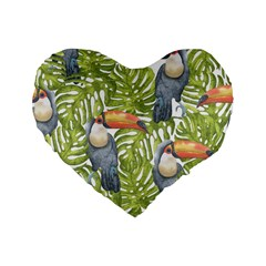 Tropical Print Leaves Birds Toucans Toucan Large Print Standard 16  Premium Flano Heart Shape Cushions by CraftyLittleNodes