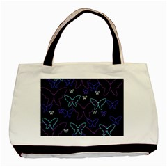 Blue Neon Butterflies Basic Tote Bag (two Sides) by Valentinaart