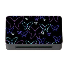 Blue Neon Butterflies Memory Card Reader With Cf by Valentinaart