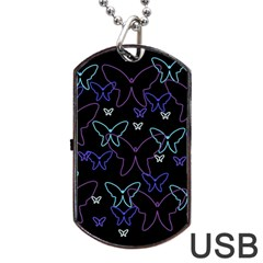 Blue Neon Butterflies Dog Tag Usb Flash (one Side) by Valentinaart