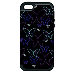 Blue Neon Butterflies Apple Iphone 5 Hardshell Case (pc+silicone) by Valentinaart