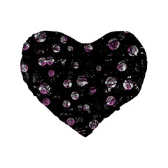 Purple Soul Standard 16  Premium Flano Heart Shape Cushions by Valentinaart