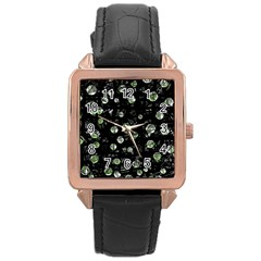 Green Soul  Rose Gold Leather Watch  by Valentinaart