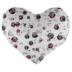White And Red Soul Large 19  Premium Heart Shape Cushions by Valentinaart