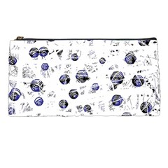 White And Deep Blue Soul Pencil Cases by Valentinaart