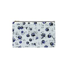 White And Deep Blue Soul Cosmetic Bag (small)  by Valentinaart