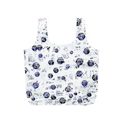 White And Deep Blue Soul Full Print Recycle Bags (s)  by Valentinaart