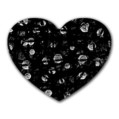 Black And Gray Soul Heart Mousepads by Valentinaart