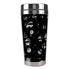 Black And Gray Soul Stainless Steel Travel Tumblers by Valentinaart