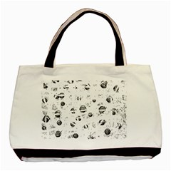 White And Gray Soul Basic Tote Bag by Valentinaart