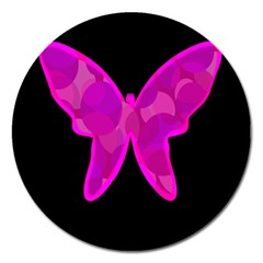 Purple Butterfly Magnet 5  (round) by Valentinaart