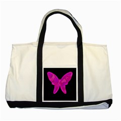 Purple Butterfly Two Tone Tote Bag by Valentinaart