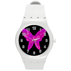 Purple Butterfly Round Plastic Sport Watch (m) by Valentinaart