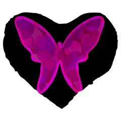 Purple Butterfly Large 19  Premium Heart Shape Cushions