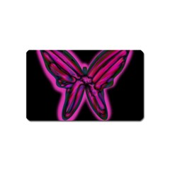Purple Neon Butterfly Magnet (name Card) by Valentinaart