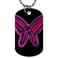 Purple Neon Butterfly Dog Tag (one Side) by Valentinaart