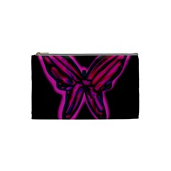 Purple Neon Butterfly Cosmetic Bag (small)