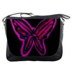 Purple Neon Butterfly Messenger Bags by Valentinaart