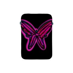 Purple Neon Butterfly Apple Ipad Mini Protective Soft Cases by Valentinaart