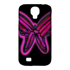 Purple Neon Butterfly Samsung Galaxy S4 Classic Hardshell Case (pc+silicone) by Valentinaart