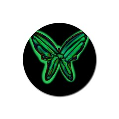 Green Neon Butterfly Rubber Coaster (round)