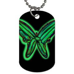 Green Neon Butterfly Dog Tag (one Side) by Valentinaart