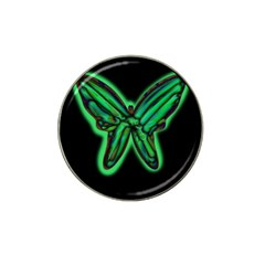 Green Neon Butterfly Hat Clip Ball Marker by Valentinaart