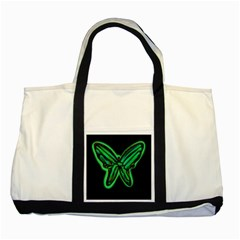 Green Neon Butterfly Two Tone Tote Bag by Valentinaart