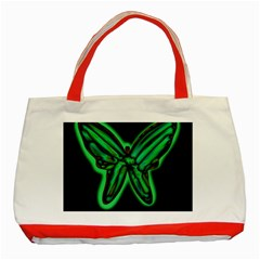 Green Neon Butterfly Classic Tote Bag (red) by Valentinaart