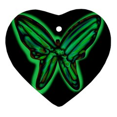 Green Neon Butterfly Heart Ornament (2 Sides) by Valentinaart