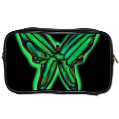 Green Neon Butterfly Toiletries Bags 2 Side by Valentinaart