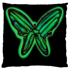 Green Neon Butterfly Large Cushion Case (two Sides) by Valentinaart