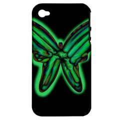 Green Neon Butterfly Apple Iphone 4/4s Hardshell Case (pc+silicone) by Valentinaart