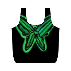 Green Neon Butterfly Full Print Recycle Bags (m)  by Valentinaart