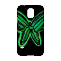 Green Neon Butterfly Samsung Galaxy S5 Hardshell Case  by Valentinaart