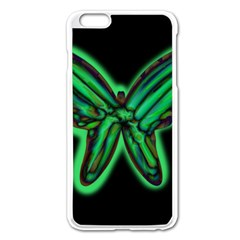 Green Neon Butterfly Apple Iphone 6 Plus/6s Plus Enamel White Case