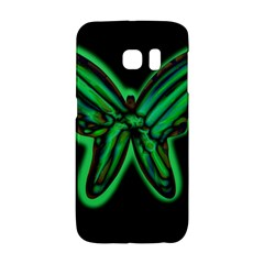 Green Neon Butterfly Galaxy S6 Edge by Valentinaart