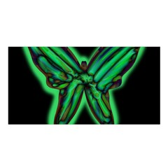 Green Neon Butterfly Satin Shawl by Valentinaart