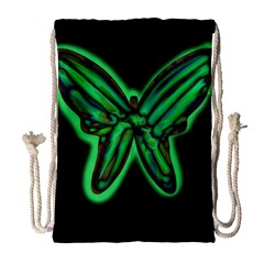 Green Neon Butterfly Drawstring Bag (large) by Valentinaart