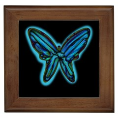 Blue Butterfly Framed Tiles