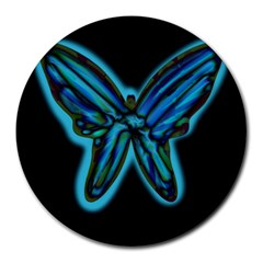 Blue Butterfly Round Mousepads by Valentinaart