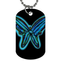 Blue Butterfly Dog Tag (two Sides) by Valentinaart