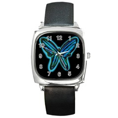 Blue Butterfly Square Metal Watch by Valentinaart