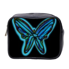 Blue Butterfly Mini Toiletries Bag 2 Side by Valentinaart
