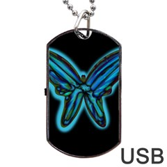 Blue Butterfly Dog Tag Usb Flash (two Sides)  by Valentinaart